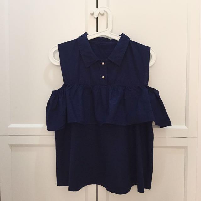Navy Cold Shoulder Top Atasan Blus Wanita #Carousell17an