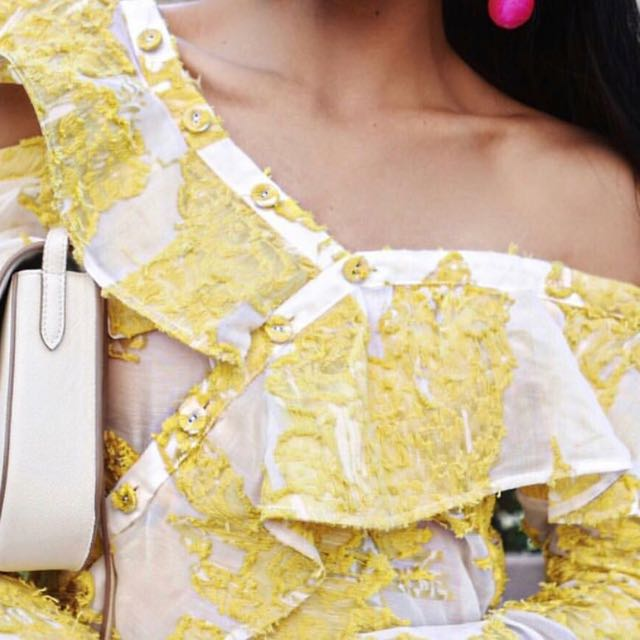 One Shoulder Yellow White