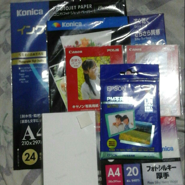 Photo Papers (Konica, Canon & Epson)