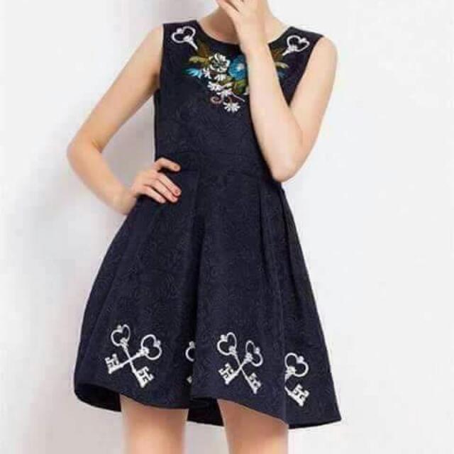 Printed Navy Blue Dress