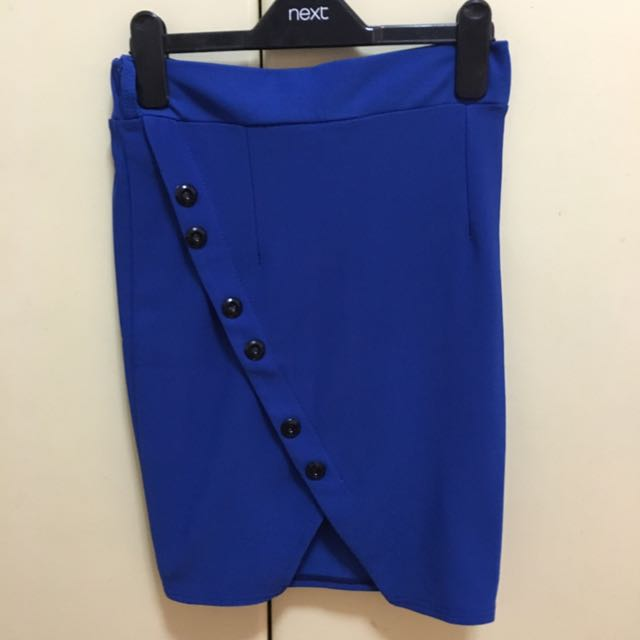 Roual Blue Buttoned Bandage Skirt