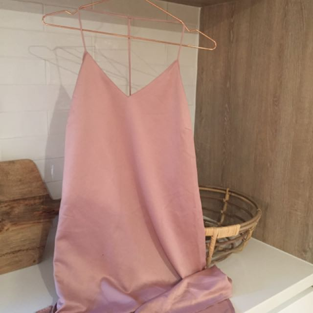 Silky Pink Midi Dress With Spaghetti Straps