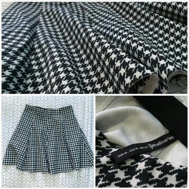 Stradivarius Houndstooth A-line Pleated Women Ladies Skirt