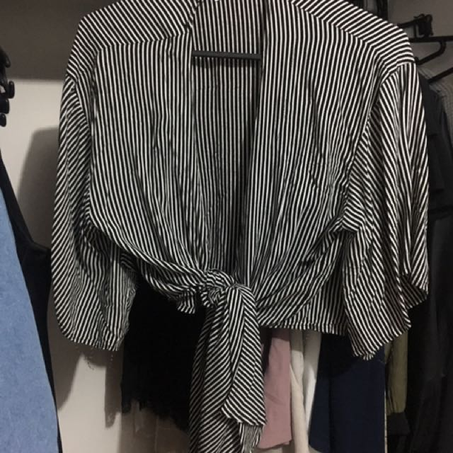 Striped Tie Up Top