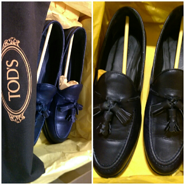 TOD'S小羊皮37號藍色流蘇平底鞋