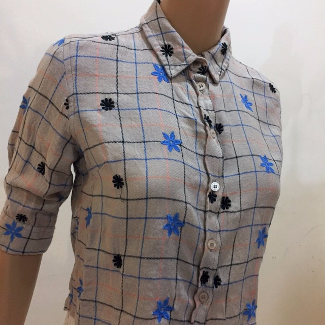 Topshop Grey Blouse With FLower Print