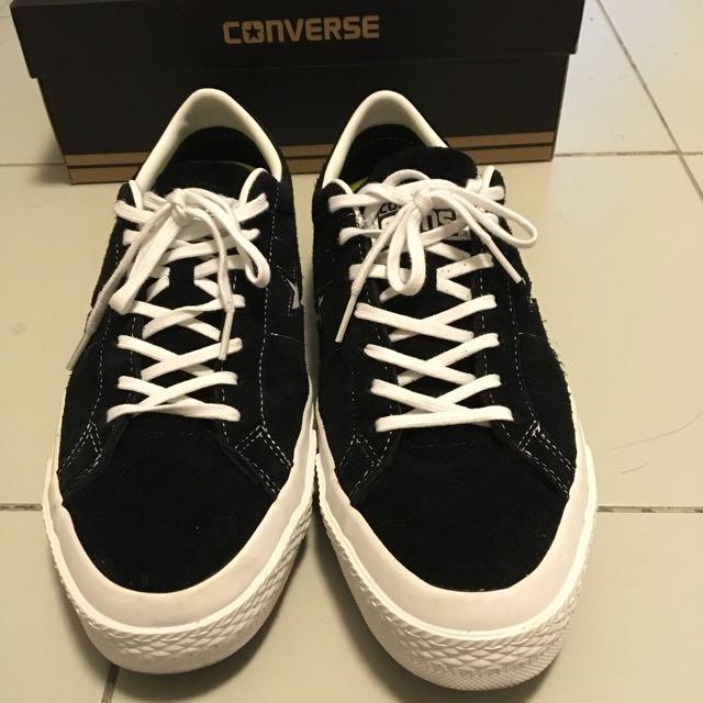 US10 Converse One Star Premium Suede BLACK WHITE dd0dfbe11