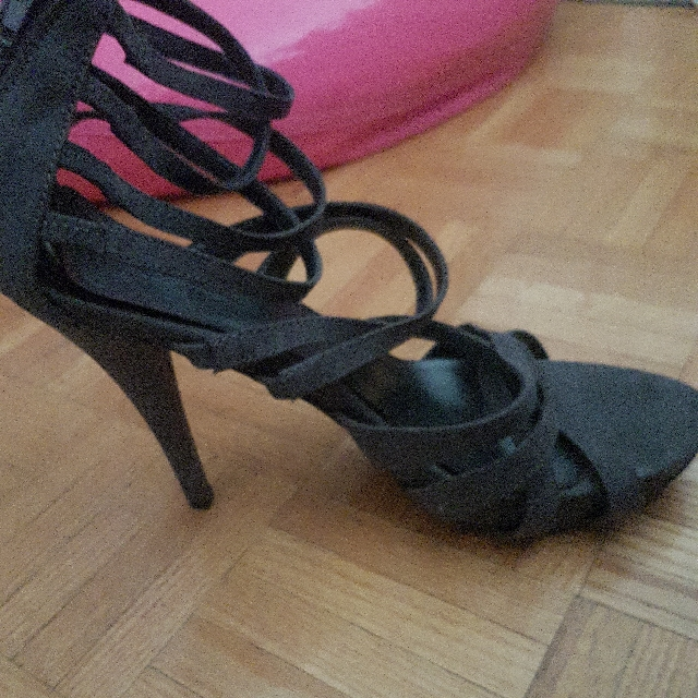 Used Grey Strappy Heels