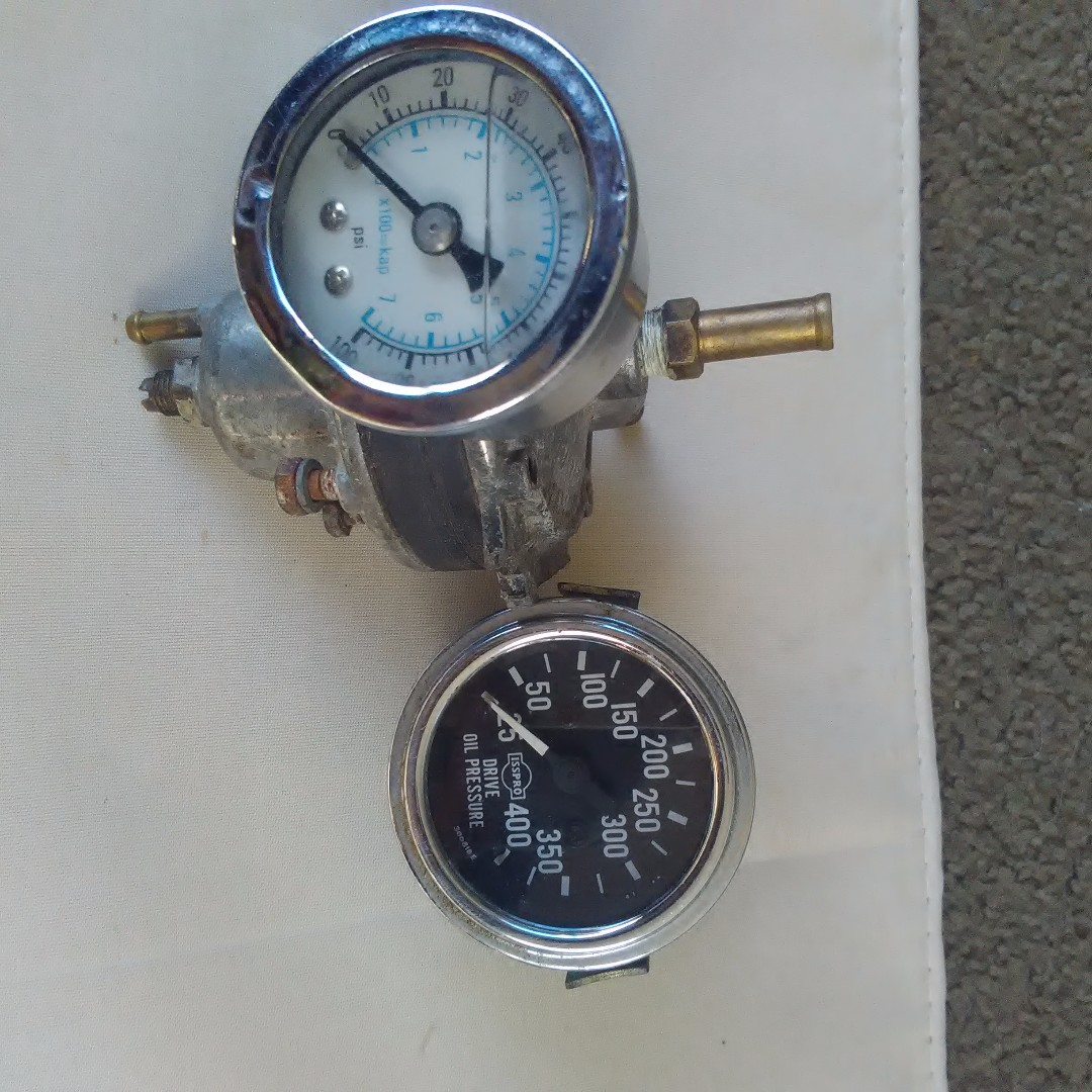 vintage fuel and oil pressure guages