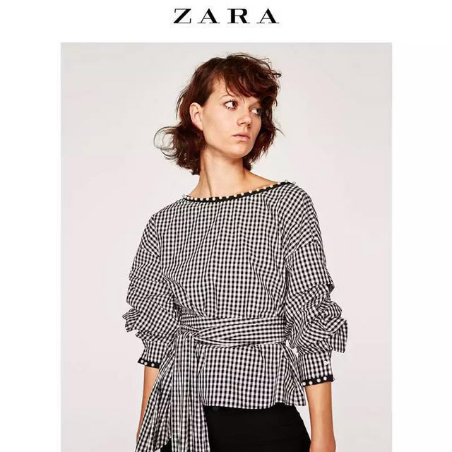894552f3 Zara design gingham checkered monotone wraparound top with ruffle  structured sleeves, Women's Fashion, Clothes, Tops on Carousell