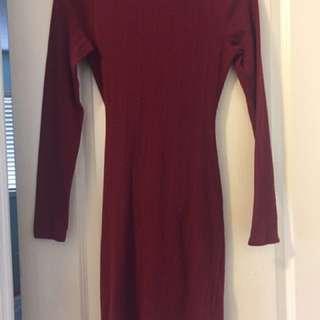 Burgundy Long Sleeve Open Back Dress