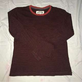 red and black striped shirt