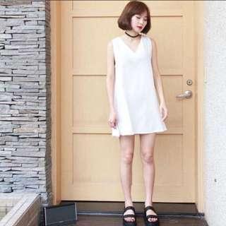 💖tolaku V領雪白小洋裝