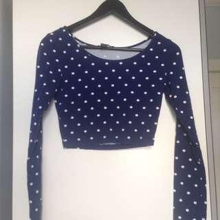 F21 Cropped Blue Long Sleeve