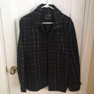 21 Men Plaid Overshirt/Peacoat - DARK GREY Sz. S