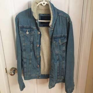 Zara Man Denim Jacket with Sheepskin Interior - LIGHT BLUE Sz. L