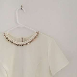White Top With Gold Chain