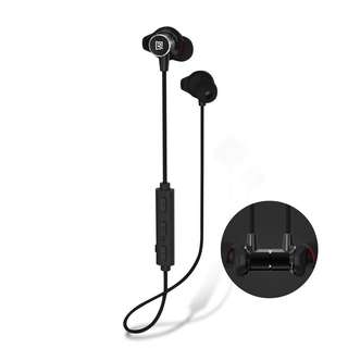 Remax - RB-S7 - Bluetooth 4.1 Wireless Stereo Headphones / Earphones with Mic and Control Buttons for Sports Lovers - Magnetic, Metallic, Sweatproof and Noise Cancelling Earbuds (Black)