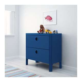 IKEA Busunge Blue Chest Of 2 Drawers