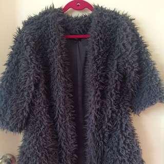 Grey Fluffy L Ice Jacket