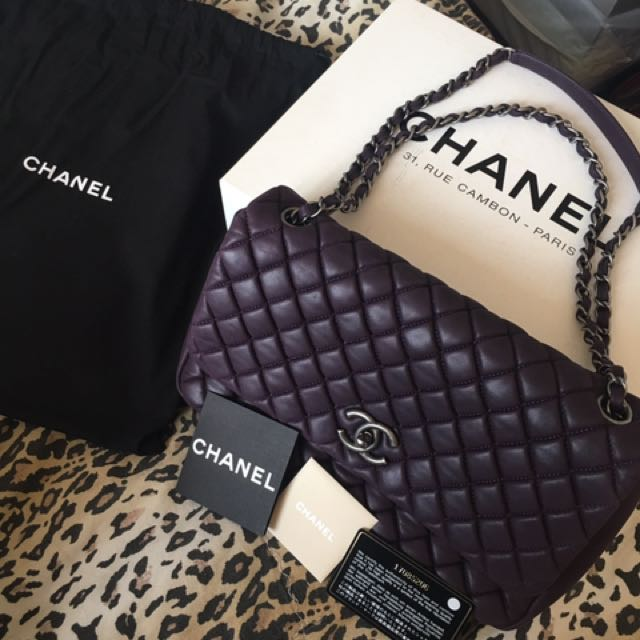 100% Authentic Chanel Calfskin Large Flap Plum Colour