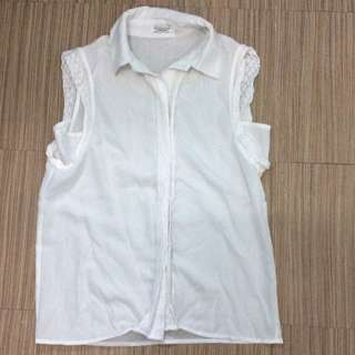 White Sleeveless Buttoned Top