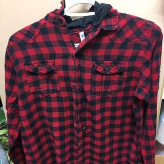 Unisex Button Up Hooded Flannel