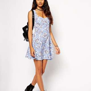 ASOS Textured Floral Skater Dress