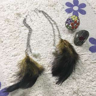 Feather Earrings And 2 Fancy Rings