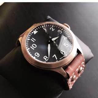 ETA movement Brass Pilot Watch. Limited to One!