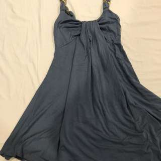 Blue Dress With Chain Detail