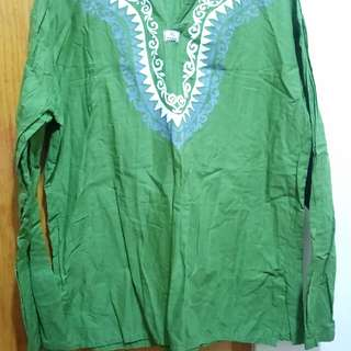 🚚 綠色民俗風長袖上衣#交換最划算#我的女裝可超取