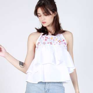 Floral Embroidery Layered Top