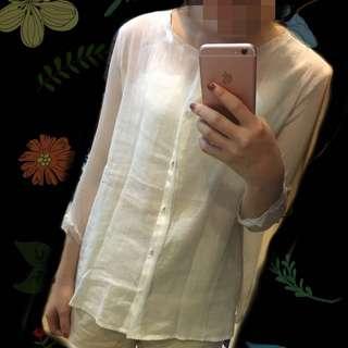 全新 拼接棉麻雪紡七分袖襯衫