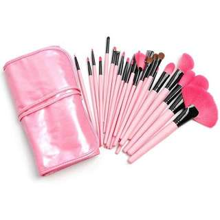 24 pcs professional makeup brushes set(pink)