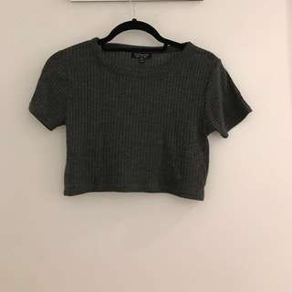 Topshop Grey Ribbed Short Sleeve Crop Top (10)