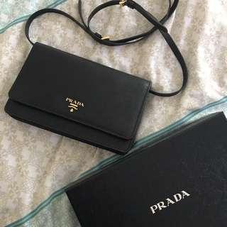 Prada Saffiano Crossbody Wallet