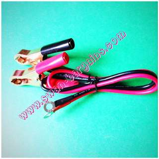 12AWG Battery Terminal Copper Crocodile Banana Clip Cable to O Ring Connector Pair