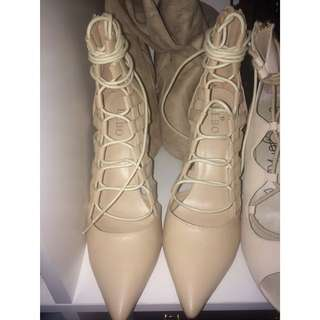 Nude caged lace up pump heels