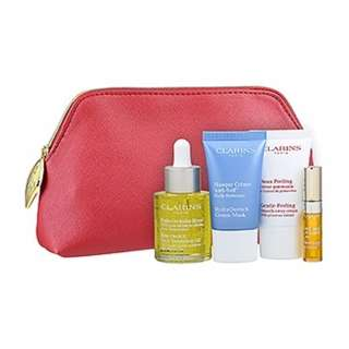 Clarins Blue Orchid Face Treatment Oil 5-Piece Skincare Set 1set , 5pcs