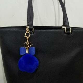 Pompom Navy Ribbon Bag Charm