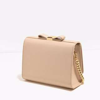 Charles And Keith Nude Bow Detail Clutch