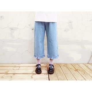 日系古著荷葉邊淺色丹寧牛仔寬褲