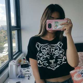 forever21 black tiger crop top