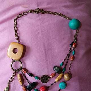 3-layered Chain Necklace With Agate Stones