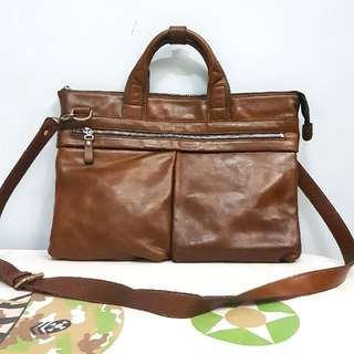 REPRICED Men's Genuine Leather Two Way Brown Business Sling Bag
