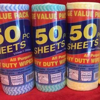 All Purpose Wipes 200mm X300mm X 50sheets Per Roll