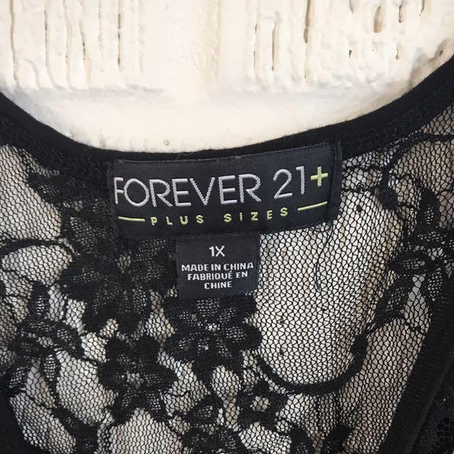 1X F21+ Sheer Lace Bodysuit