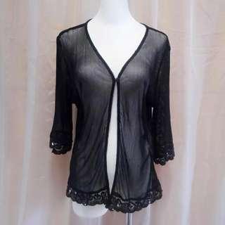 #93 均碼彈性網眼蕾絲透視外搭罩衫小外套