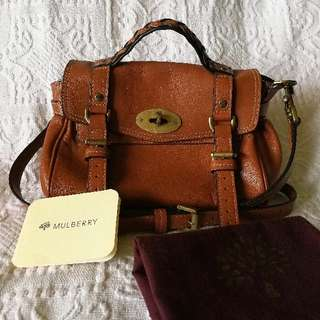 Authentic Mulberry Alexa Satchel Bag, soft brown leather